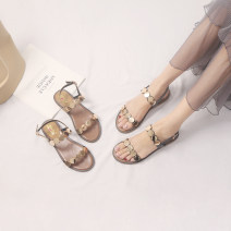 Sandals 35,36,37,38,39 Black, apricot, green Superfine fiber Other / other Barefoot Flat bottom Flat heel (1cm or less) Summer of 2019 Flat buckle Korean version Solid color Adhesive shoes Youth (18-40 years old) rubber daily Back space Low Gang Hollow Microfiber skin Microfiber skin Roman shoes
