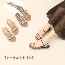 Sandals 35,36,37,38,39 Black, apricot, green Superfine fiber Other / other Barefoot Slope heel Middle heel (3-5cm) Summer 2020 Trochanter Korean version Solid color Adhesive shoes Youth (18-40 years old) rubber daily Back space Beaded, Poe heel, Roman style Low Gang Hollow Microfiber skin ZXX-SH66-36