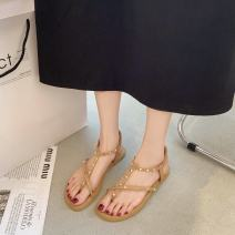 Sandals 35 36 37 38 39 40 PU Moon and silk Pinch toe Square heel Flat heel (1cm or less) Summer 2021 Trochanter Korean version Solid color Adhesive shoes Youth (18-40 years old) rubber daily Rear trip strap Roman style Low Gang Hollow PU PU Fashion sandals Shaving Pure e-commerce (online only)