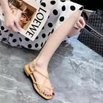 Sandals 35 36 37 38 39 40 Off white off white upgrade black upgrade Brown upgrade black PU Moon and silk Pinch toe Square heel Low heel (1-3cm) Summer 2021 Flat buckle Korean version Solid color Adhesive shoes Youth (18-40 years old) rubber daily Rear trip strap Cross strapping Roman style Low Gang