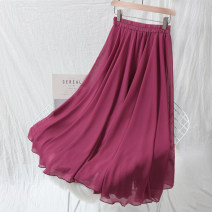 skirt Summer of 2019 S M L longuette Sweet High waist Pleated skirt Solid color 18-24 years old Q02 More than 95% Chiffon AP AI Pai polyester fiber Polyester 100% Pure e-commerce (online only) 201g / m ^ 2 (including) - 250G / m ^ 2 (including) Bohemia