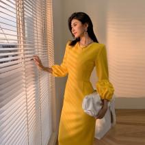 Dress Autumn 2020 yellow S,M,L,XL,2XL longuette singleton  Long sleeves commute Crew neck High waist Solid color zipper A-line skirt puff sleeve 25-29 years old Type A Retro zipper polyester fiber