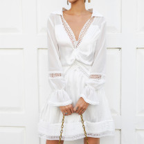 Dress Spring 2020 white S,M,L Middle-skirt singleton  Long sleeves commute V-neck High waist Socket pagoda sleeve Others 25-29 years old Type A Retro z051