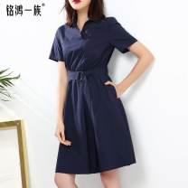 Dress Summer of 2019 dark blue M L XL XXL Mid length dress singleton  Short sleeve commute V-neck High waist Solid color Socket A-line skirt routine Others 25-29 years old Type X Ol style Pleated pocket tie 51% (inclusive) - 70% (inclusive) cotton