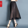 skirt Summer of 2019 L XL XXL XXXL Black bean paste pure black Mid length dress commute Natural waist other other Type H 40-49 years old More than 95% Crepe de Chine Ink Yilan silk Pleated gauze Korean version Mulberry silk 100% Pure e-commerce (online only)