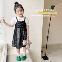 suit Peach cream black 90cm,100cm,110cm,120cm,130cm,140cm female summer Korean version Short sleeve + skirt 2 pieces Thin money There are models in the real shooting Socket nothing Solid color other 21X61 Class A