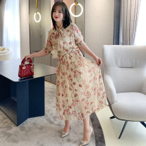 Dress Summer 2020 Decor M,L,XL,2XL,3XL Mid length dress singleton  Short sleeve commute High waist Decor Big swing other Type X miuco Ol style D-68670