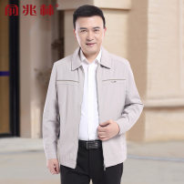 Jacket Yu Zhaolin Business gentleman routine standard Other leisure autumn Polyester 100% Long sleeves Wear out stand collar Business Casual middle age routine Zipper placket other Closing sleeve other polyester fiber Summer of 2019 More than two bags) Side seam pocket polyester fiber More than 95%