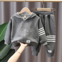 suit Tong Tong's Diary Black, gray 90cm,100cm,110cm,120cm,130cm,140cm male spring and autumn Korean version Long sleeve + pants 2 pieces routine No model Zipper shirt No detachable cap other cotton elder Giving presents at school Class B Cotton 95% polyester 5% Chinese Mainland Zhejiang Province