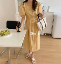 Dress Summer 2020 Yellow, green, purple, beige, pink Average size Mid length dress singleton  Short sleeve commute square neck High waist Solid color Socket A-line skirt routine Others 18-24 years old Type A Korean version zing 6605 31% (inclusive) - 50% (inclusive) other
