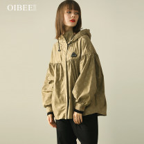 short coat Spring 2021 S M L XL Brown Black Long sleeves routine routine singleton  easy Versatile routine Hood zipper Solid color 30-34 years old OIBEE 96% and above Zipper printing polyester fiber polyester fiber Polyester 100% Pure e-commerce (online only)
