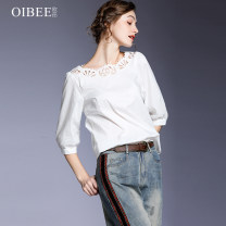 shirt white S M L XL Autumn 2020 cotton 30% and below elbow sleeve Versatile Regular Crew neck Socket routine Solid color 30-34 years old Straight cylinder OIBEE SL870678 Lyocell fiber (Lyocell) 70.3% cotton 29.7% Pure e-commerce (online only)