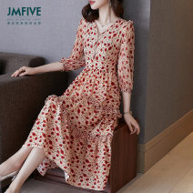 Dress Spring 2021 Blue and red for sale S/155 M/160 L/165 XL/170 XXL/175 Mid length dress singleton  three quarter sleeve street V-neck middle-waisted Broken flowers zipper A-line skirt routine Others 30-34 years old Type A JMFIVE JM21CZ0320001 More than 95% Crepe de Chine silk Mulberry silk 100%