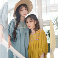 Dress Summer 2020 S,M,L longuette singleton  Short sleeve commute square neck Loose waist Solid color Socket Big swing routine 18-24 years old Type H Chestnut / chestnut ethnic style Embroidery More than 95% cotton