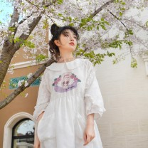 Dress Spring 2020 S,M,L Mid length dress singleton  Long sleeves Sweet Doll Collar High waist Cartoon animation zipper A-line skirt routine 18-24 years old Type A Chestnut / chestnut Lace up, printed More than 95% polyester fiber Mori