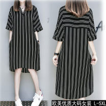Dress Summer of 2019 Elegant black XL,2XL,3XL,4XL street 18-24 years old Other / other Europe and America