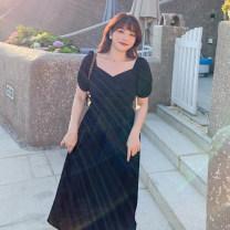 Women's large Summer 2020 Dress singleton  commute thin Socket Short sleeve Korean version V-neck Polyester, cotton Other / other 51% (inclusive) - 70% (inclusive) Medium length