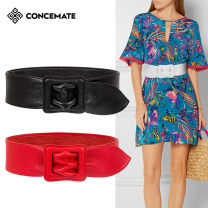 Belt / belt / chain top layer leather Camel white red black female Waistband Versatile Single loop Young and middle aged Smooth button Leather Wrap soft surface 6.5cm alloy alone Concemate C850 Spring / summer 2018