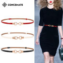 Belt / belt / chain Double skin leather Off white red black female belt Versatile Single loop Young and middle aged Smooth button Double button Patent leather 1cm alloy alone Concemate F220 Summer of 2019