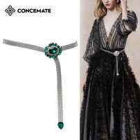 Belt / belt / chain Metal White drill red drill green drill female belt grace Single loop Young and middle aged Smooth button Diamond inlay Glossy surface 1.5cm alloy Bare weave inlaid hollow out Sequin Diamond Flower Concemate F088 Spring of 2019