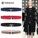Belt / belt / chain Pu (artificial leather) Camel Khaki Navy off white red brown black female belt grace Single loop Middle aged youth Smooth button Diamond inlay Glossy surface 2.8cm alloy Bare body inlaid diamond elastic Concemate C581# 60cm 68cm Autumn of 2019