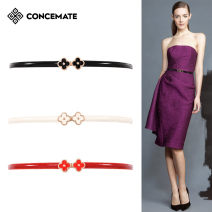 Belt / belt / chain Double skin leather Off white red black female belt Versatile Single loop Young and middle aged Smooth button Flower design Patent leather 1cm alloy Decorative flowers with bare body and thick thread Concemate F225 Summer of 2019