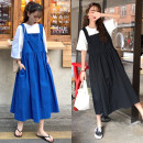 Dress Summer of 2019 Blue, black M,L,XL,2XL,3XL,4XL Mid length dress singleton  Sleeveless commute High waist Solid color A-line skirt straps 18-24 years old Type A Other / other Korean version