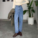 Women's large Winter 2020, autumn 2020 Gray, blue Big L, big XL, big M, big 2XL, big 3XL, big 4XL Jeans singleton  commute easy moderate Solid color, others Korean version Denim, other Three dimensional cutting 18-24 years old Button 81% (inclusive) - 90% (inclusive) trousers Contains (9 oz) - 11 oz