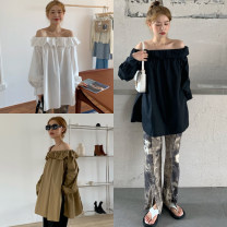 Women's large Autumn 2020 Brown, white, black M suggests 100-110kg, l 110-120kg, XL 120-130kg, 2XL 130-145kg, 3XL 145-160kg, 4XL 160-175kg shirt singleton  easy Socket Long sleeves Solid color Medium length 18-24 years old 96% and above