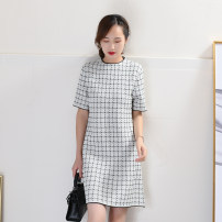 Dress Spring 2020 White, black, blue S,M,L Mid length dress singleton  Short sleeve commute Crew neck Loose waist lattice Socket A-line skirt routine Others Type A Other / other Retro 81% (inclusive) - 90% (inclusive) knitting polyester fiber