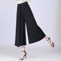 Casual pants black M/27 L/28 XL/29 XXL/30 XXXL/31 4XL/32 Spring 2021 Ninth pants Wide leg pants High waist commute routine 91% (inclusive) - 95% (inclusive) DS21B033 Deng Sheng Korean version Three dimensional decoration Polyester 95% polyurethane elastic fiber (spandex) 5% Asymmetry