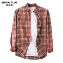 shirt Youth fashion Fat brother 2XL 3XL 4XL 5XL 6XL 7XL Tangerine routine square neck Long sleeves easy Other leisure spring P912C040104 Large size Cotton 100% Youthful vigor 2021 lattice Plaid Spring 2021 washing cotton other Pure e-commerce (online only) More than 95%