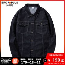 Jacket Fat brother Youth fashion 118 black 117 dark blue 2XL 3XL 5XL 6XL 4XL 7xl 8xl routine easy Other leisure spring PGG18DJN118 Cotton 65% polyester 33% polyurethane elastic fiber (spandex) 2% Long sleeves Wear out stand collar Youthful vigor Large size routine Single breasted Straight hem washing