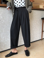 Women's large Summer of 2019, spring of 2019, autumn of 2019 Black, gray L (recommended 100-120 kg), XL (recommended 120-140 kg), 2XL (recommended 140-160 kg), 3XL (recommended 160-180 kg), 4XL (recommended 180-200 kg), m (recommended 90-100 kg), s (recommended below 90 kg) trousers commute cotton