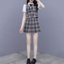 Dress Summer 2021 Blue Khaki S M L XL 2XL Short skirt Two piece set Short sleeve commute Polo collar lattice Pleated skirt puff sleeve Others 25-29 years old Dolanzi Korean version 329#1198 More than 95% other Other 100% Pure e-commerce (online only)