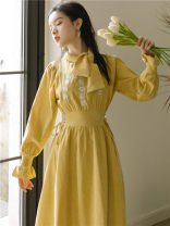 Dress Winter 2020 Autumn leaf yellow S,M,L Mid length dress singleton  Long sleeves commute Crew neck High waist Solid color Socket A-line skirt routine Type A Retro