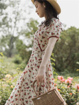 Dress Summer 2021 Broken flowers S,M,L Mid length dress singleton  Short sleeve commute V-neck High waist Broken flowers other Big swing other Type A Retro Bow, print