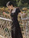 Dress Summer 2021 Broken flowers S,M,L Mid length dress singleton  Short sleeve commute square neck High waist Broken flowers A-line skirt puff sleeve Others Type A Retro
