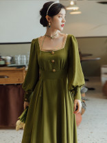 Dress Spring 2021 Avocado Green S,M,L longuette singleton  Long sleeves commute square neck High waist Solid color Type A Retro