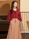 Fashion suit Spring 2021 S,M,L Red top + Plaid skirt