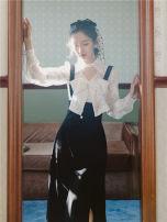 Fashion suit Spring 2021 S,M,L White top + black strap skirt