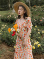 Dress Summer 2020 Picture color S,M,L Mid length dress singleton  Short sleeve commute V-neck Decor other Others Type A Retro printing