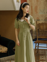 Dress Summer 2020 Avocado Green S,M,L Mid length dress singleton  Short sleeve commute Doll Collar Solid color other Type A Retro Pleats, buttons