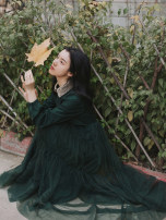 Dress Autumn of 2019 blackish green S,M,L longuette singleton  Long sleeves commute Doll Collar High waist Solid color zipper Others Type A Retro Pleats, stitches, mesh, lace