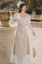Dress Spring 2021 white S,M,L longuette singleton  Long sleeves commute square neck High waist Solid color routine Type A Retro Stitching, lace polyester fiber