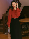 Fashion suit Spring 2021 S,M,L Red shirt + black skirt 18-25 years old