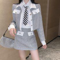 Vest Autumn 2020 Black skirt, white skirt, black tweed coat, white tweed coat, white shirt + tie S, M routine Polo collar 18-24 years old 96% and above
