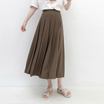 skirt Spring 2021 Average size Black, brown Mid length dress commute High waist Pleated skirt Solid color Type A AL53760 51% (inclusive) - 70% (inclusive) other Good morning diary polyester fiber Simplicity
