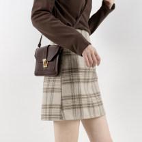 skirt Autumn 2020 S,M,L,XL Beige, milky brown Short skirt commute High waist skirt lattice Type A cyx830114 51% (inclusive) - 70% (inclusive) Wool Good morning diary polyester fiber Korean version