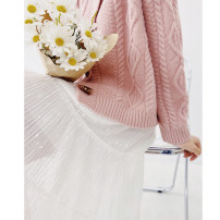 skirt Spring 2021 Average size White, apricot longuette commute High waist Pleated skirt Solid color Type A More than 95% other Good morning diary polyester fiber Sequins Korean version
